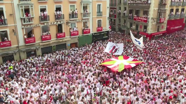 spain's most famous street party the san fermin bull running festival kicks off in pamplona - comunidad foral de navarra stock videos and b-roll footage