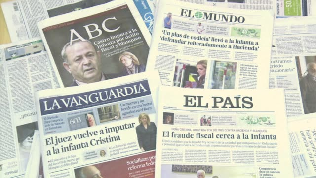 spain's press wednesday hailed the news that king juan carlos youngest daughter has been declared a financial fraud suspect as evidence that all are... - social justice concept video stock e b–roll