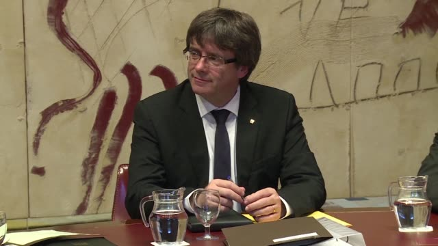 spain's separatism crisis face a decisive moment with catalonia's leader carles puigdemont to address regional lawmakers in a speech his supporters... - separatism stock videos & royalty-free footage