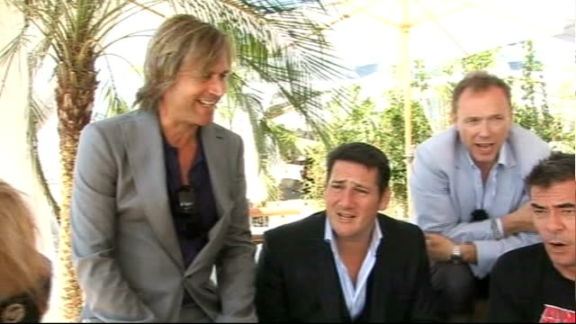spandau ballet at cannes; spandau ballet interview sot - came to announce the european leg of the tour - fantasy was to walk into a roxy music cover... - soap opera stock videos & royalty-free footage