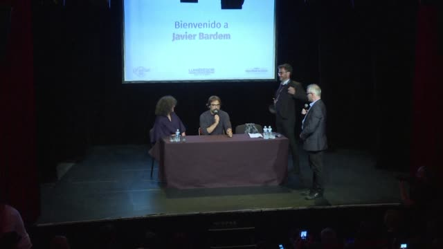 Spanish actor Javier Bardem gives a masterclass to the public during the Festival Lumiere in Lyon