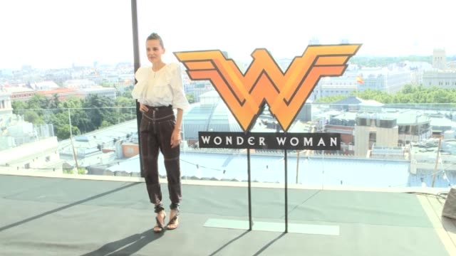 spanish actress elena anaya attends the 'wonder woman' photocall at the nh collection hotel - fototermin stock-videos und b-roll-filmmaterial