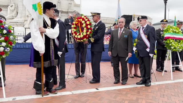 spanish ambassador to the united state santiago cabanas presents a wreath during a celebration of the italian explorer christopher columbus at the... - christopher columbus explorer stock videos & royalty-free footage