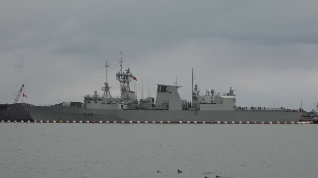 Spanish and Canadian NATO warships are at anchor near Samsun port in Samsun Turkey on February 16 2017 Captain Ruben Rodriguez Pena of Spanish and...