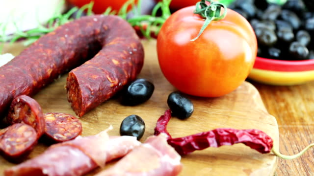 spanish appetizer - chorizo stock videos & royalty-free footage