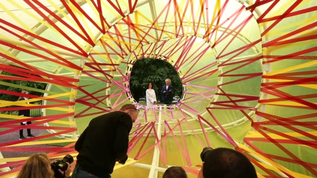 Spanish architects Jose Selgas and Lucia Cano of SelgasCano pose for pictures in the new Serpentine Summer Pavillion on June 22 2015 in London...