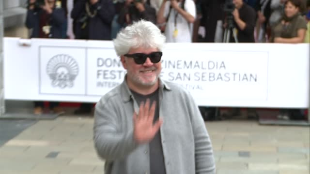Spanish film director Pedro Almodovar arrives at Hotel Maria Cristina