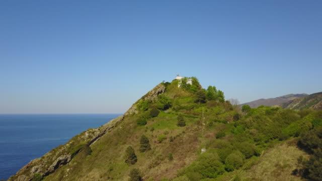 spanish fishing village lighthouse - 丘点の映像素材/bロール