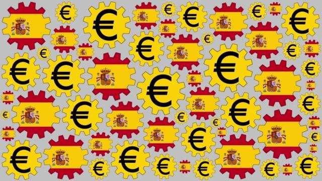 vídeos de stock e filmes b-roll de spanish flag and euro sign gears spinning background - bandeira