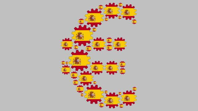 spanish flag gears shaping euro symbol - euro symbol stock videos & royalty-free footage