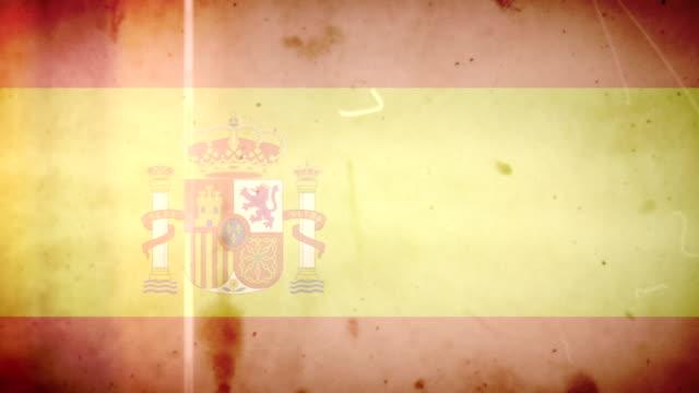 vídeos de stock e filmes b-roll de bandeira da espanha-grunge retro velho filme loop com áudio - fuga de luz