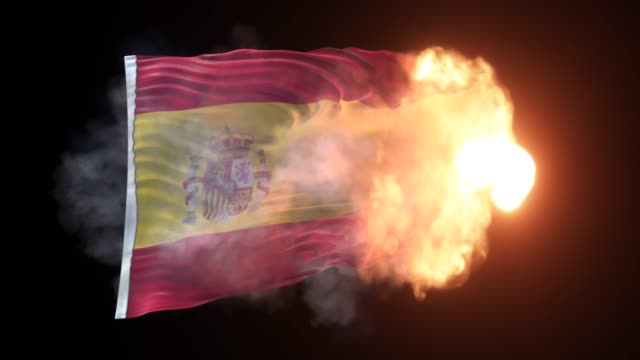 spanish flag is appearing into the flames and waves on black background in 4k resolution - politics abstract stock videos & royalty-free footage