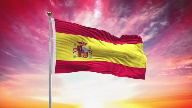 スペインの旗、ループ可能な、含まれているグリーンスクリーンクロマキーバージョン、風遅い動きアニメーションで手を振る、4k現実的なファブリックテクスチャ、連続シームレスなルー� - スペイン国旗点の映像素材/bロール