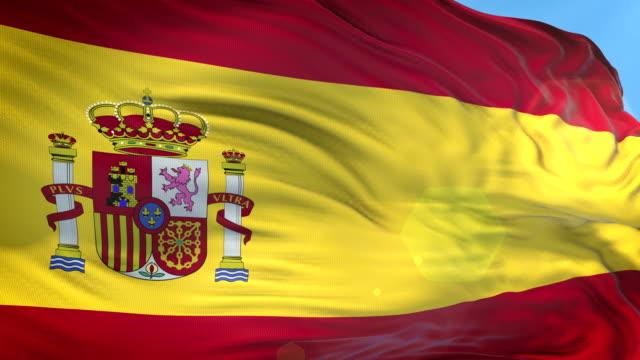 スペイン国旗-スローモーション-4k 解像度 - スペイン国旗点の映像素材/bロール