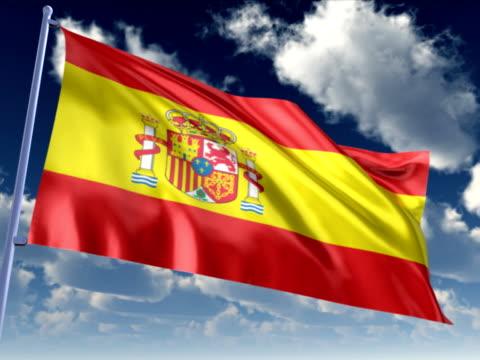 vídeos de stock e filmes b-roll de bandeira da espanha - político