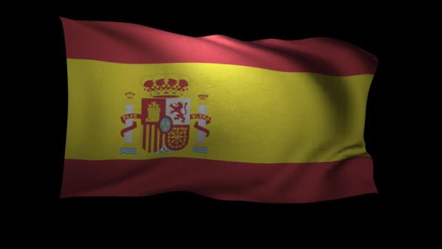 cgi spanish flag waving against black background - spanish flag stock videos and b-roll footage
