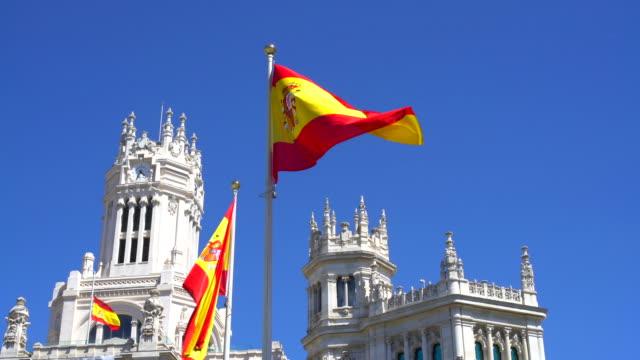 マドリードでスペイン語のフラグ - スペイン国旗点の映像素材/bロール
