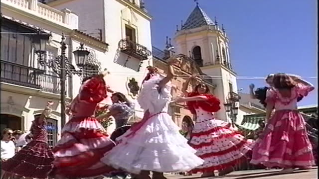 spanish flamenco street festival - spanish culture stock videos & royalty-free footage