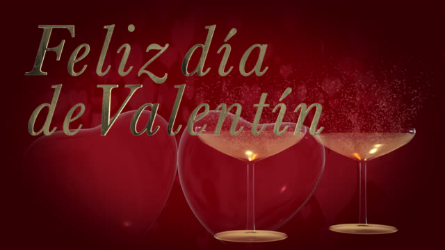 spanish happy valentine's day phrase, feliz día de san valentín in gold 3d letters with two beating 3d red hearts and champagne glasses the bubbles from the champagne are heart shaped in the background are moving heart shaped particles - día stock videos & royalty-free footage