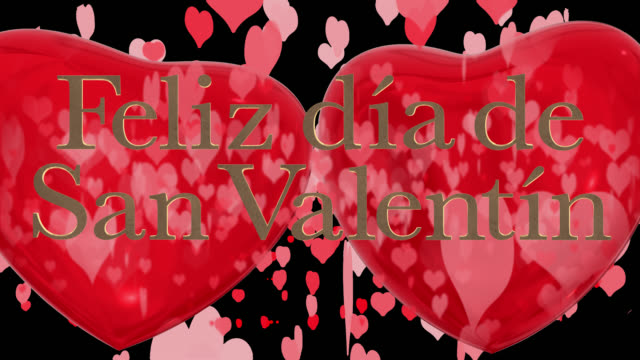 spanish happy valentine's day phrase, feliz día de san valentín with two beating 3d red hearts and moving heart shaped particles are in the background saved with an alpha channel. - día stock videos & royalty-free footage