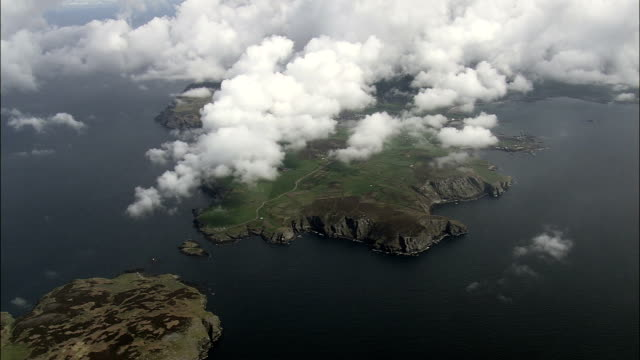 spanish head  - aerial view - rushen, isle of man - isle of man stock videos & royalty-free footage