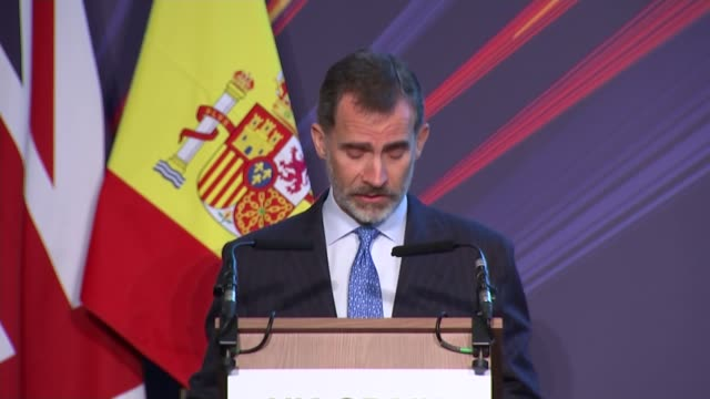 Spanish King attends UKSpain Business Forum at Mansion House ENGLAND London Mansion House INT King Felipe VI speech SOT Lord Mayor of London speech...