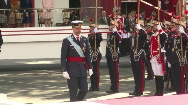 Spanish King Felipe presided on Sunday over a military parade for the Dia de la Hispanidad for the first time