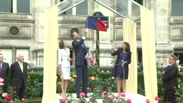 Spanish King Felipe VI and Queen Letizia inaugurate a garden in Paris in honour of Spanish Republican fighters on the second day of their state visit...