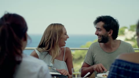 spanish local lunch with a view - spain stock videos & royalty-free footage
