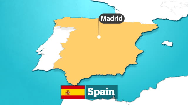 spanish map with flag - spain stock videos & royalty-free footage