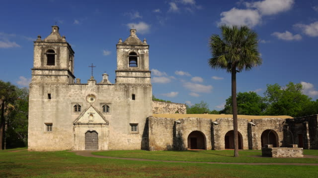 spanish mission concepcion in san antonio, texas - time lapse - san antonio texas stock videos and b-roll footage