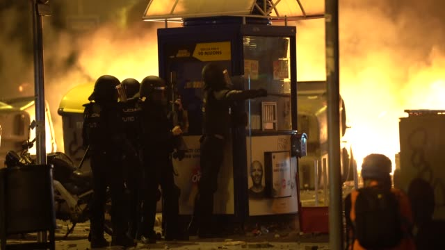 spanish police seen shooting at protestors during a general strike on october 18 2019 in barcelona spain earlier in the week the spanish supreme... - anti fascism stock videos & royalty-free footage