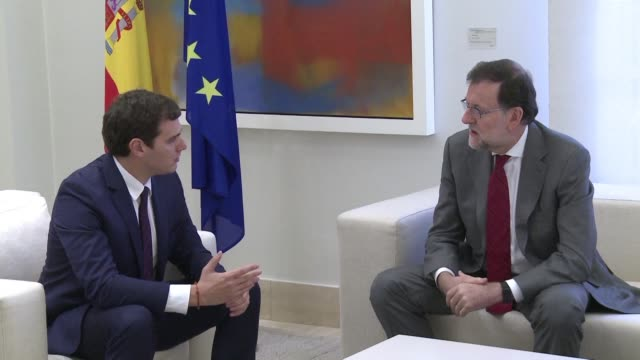 Spanish Prime Minister Mariano Rajoy holds talks with the Albert Rivera leader of Ciudadanos as he tries to form a government