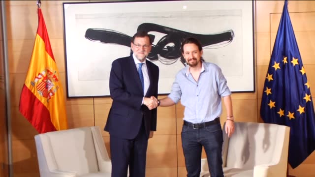 Spanish Prime Minister Mariano Rajoy meets with Leader of left wing party Unidos Podemos Pablo Iglesias at Spanish Parliament after the Spanish...