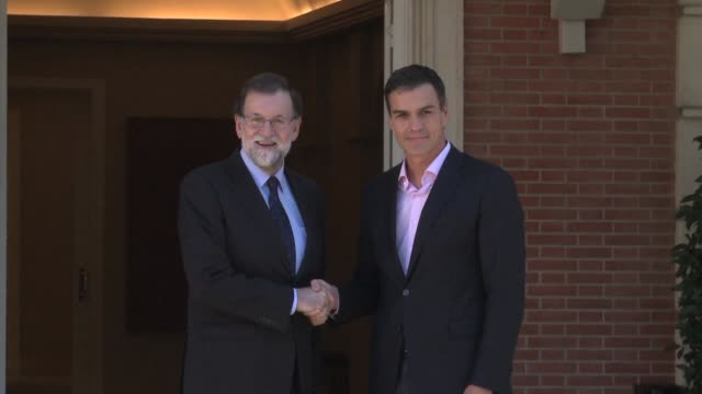 spanish prime minister mariano rajoy meets with the leader of the main opposition socialist party pedro sanchez at the mocloa palace as international... - socialist party stock videos and b-roll footage