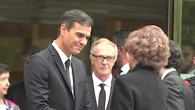 Spanish Prime Minister Pedro Sanchez Queen Sofia of Spain and singer Jose Carreras attend the funeral of world famous opera singer Montserrat Caballe...