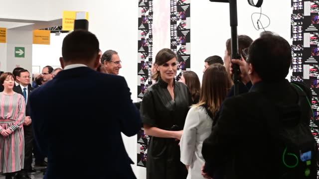 spanish royals and martín vizcarra attend arco art fair 2019 at ifema on february 28, 2019 in madrid, spain. - マルティン・ビスカラ点の映像素材/bロール