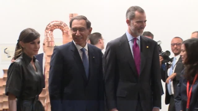 spanish royals and peruvian president attend the arco art fair in madrid, 2019 - マルティン・ビスカラ点の映像素材/bロール