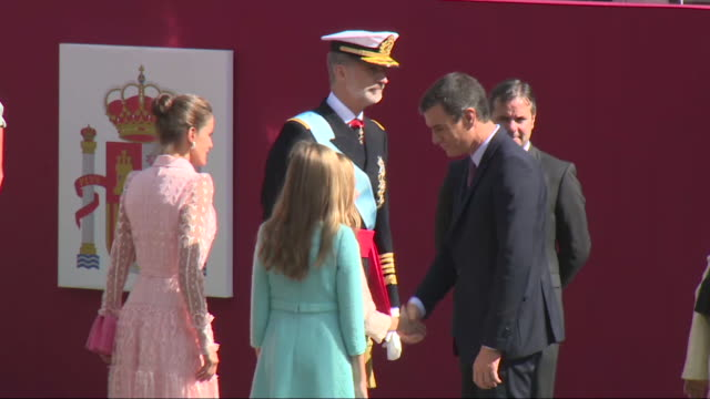 spanish royals and politicians leave the national day military parade - day stock videos & royalty-free footage