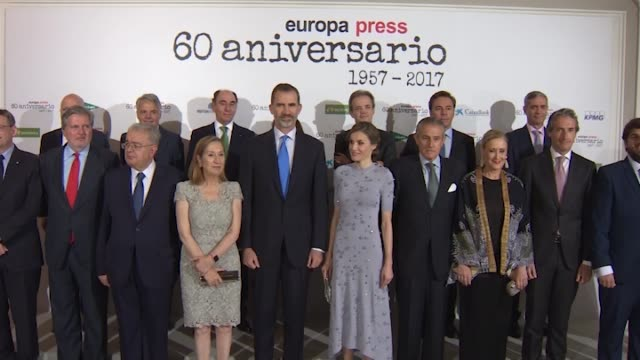 spanish royals attend 60th anniversary of europa press agency - queen letizia of spain stock videos and b-roll footage