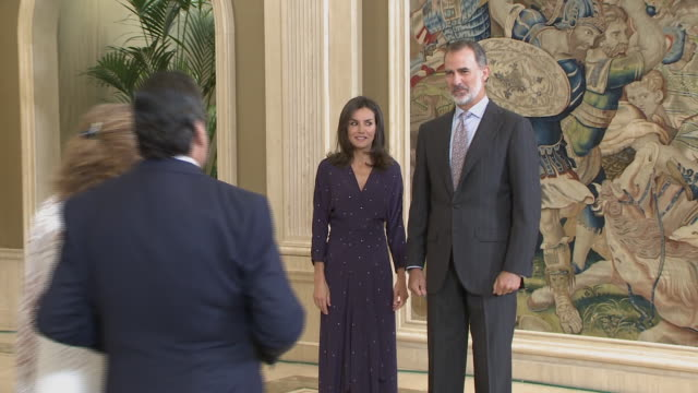 spanish royals attend audiences at zarzuela palace - teilnehmen stock-videos und b-roll-filmmaterial