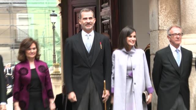 spanish royals attend 'miguel de cervantes' literature awards - queen letizia of spain stock videos and b-roll footage