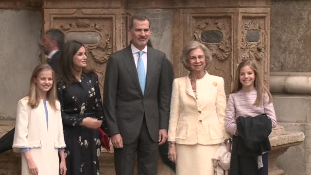 spanish royals attend the holy week mass in palma de mallorca - holy week stock videos & royalty-free footage