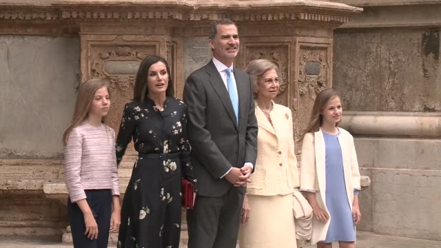 spanish royals attend the holy week mass in palma de mallorca - week video stock e b–roll