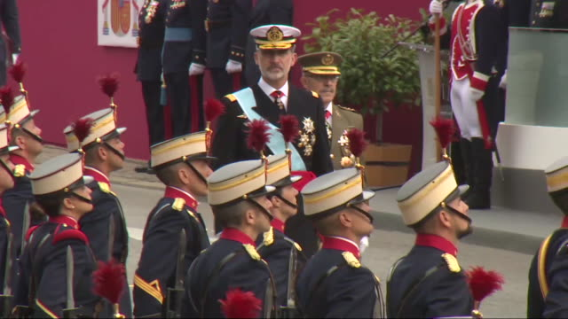 spanish royals attend the national day military parade - day stock videos & royalty-free footage