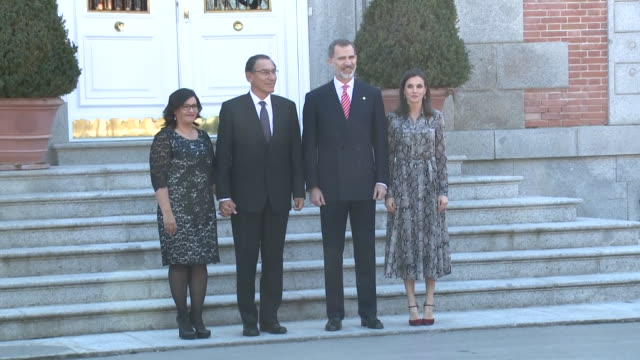 spanish royals received the president and first lady of peru for lunch. the four of them posed for photos before eating at the palace. - マルティン・ビスカラ点の映像素材/bロール