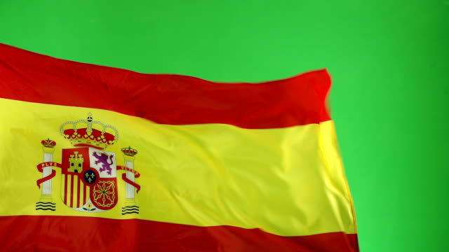 spanish spain flag on green screen, real video, not cgi - super slow motion - spanish flag stock videos and b-roll footage