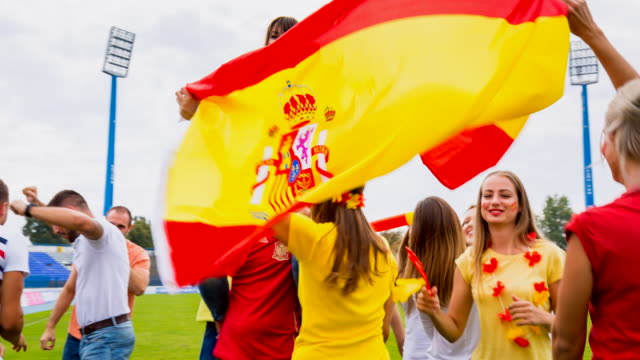 ms spanish sport fans at soccer stadium - all european flags stock videos and b-roll footage