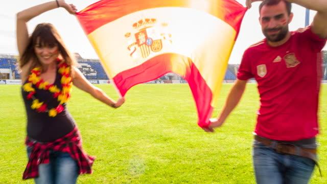 MS spanish sport fans at soccer stadium