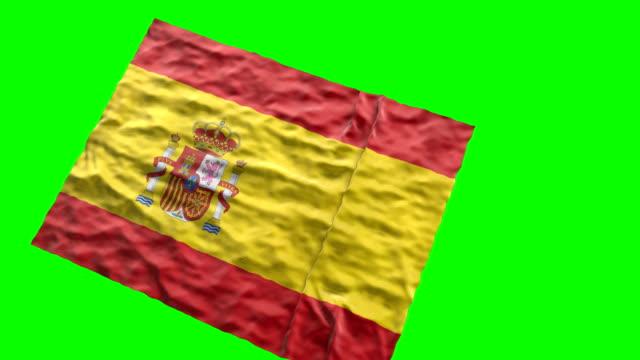 spanish stadium flag. waving on green screen - spanish flag stock videos and b-roll footage